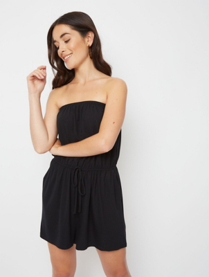 Black Jersey Bandeau Playsuit