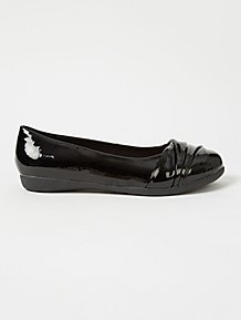 03236b562 Wide Fit Black Patent Wrap Toe Ballet Shoes