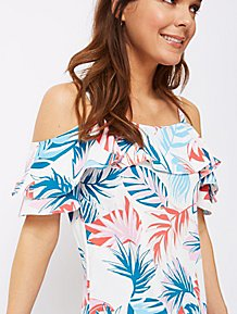 52d801705bc18d White Tropical Print Cold Shoulder Blouse