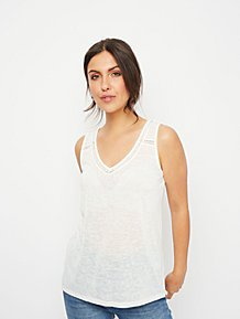 b525ec4c White Crochet Neck Linen Look Vest Top