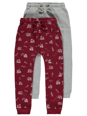 Burgundy Tractor Print Jogging Bottoms 2 Pack