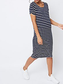 7a2d15771153 Maternity Navy Stripe Print Jersey Midi Dress