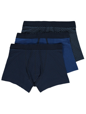 Navy Printed A-Front Trunks 3 Pack