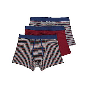 Striped Jersey A-Front Fly Trunks 3 Pack