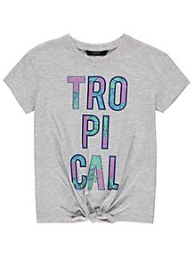 921042dc63086 Grey Marl Tropical Tie Front T Shirt