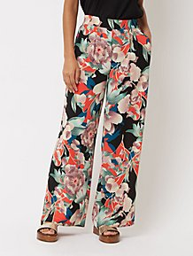 a75d709bc25f9 Orange Floral Print Palazzo Trousers