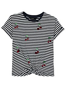 a0f1a13c246 Striped Cherry Sequin Tie Front T-Shirt