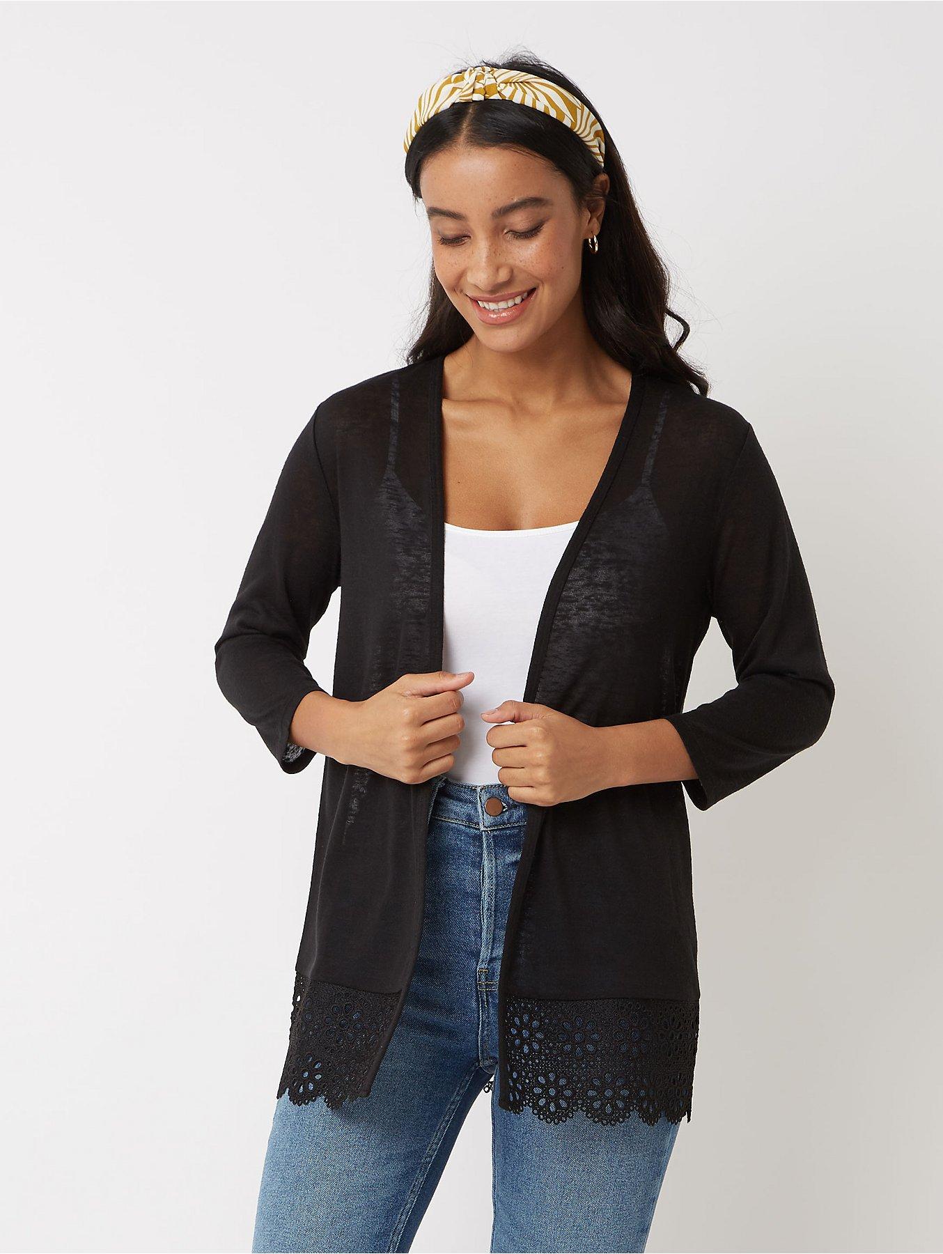 Black Crochet Hem Open Front Cardigan
