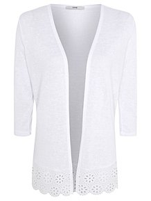 White Lace Hem Open Front Cardigan