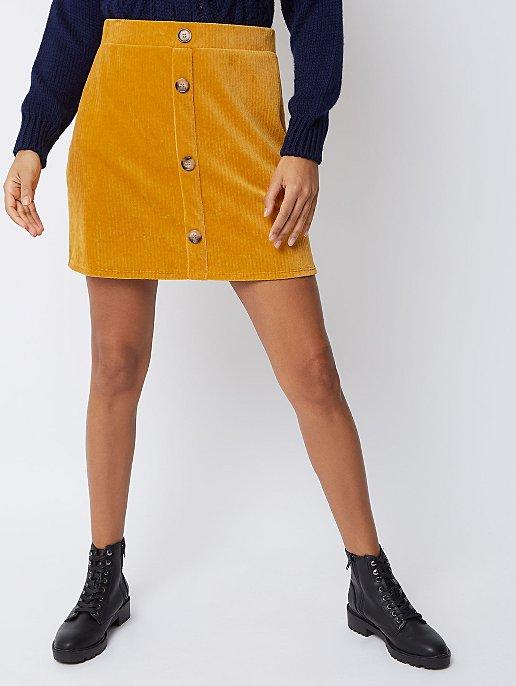2defd8022f4f75 Mustard Corduroy Button Front Skirt | Women | George