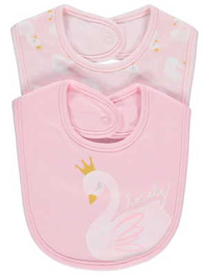 Pink Swan Print Bibs 2 Pack