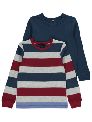 Navy Striped Textured Long Sleeve Tops 2 Pack