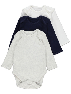 Grey Long Sleeve Bodysuits 3 Pack