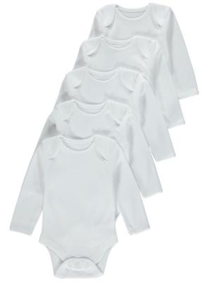 White Long-Sleeved Bodysuit 5 Pack