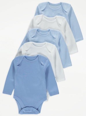 Blue Long-Sleeved Bodysuit 5 Pack