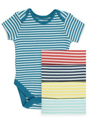 Striped Short Sleeve Bodysuits 5 Pack