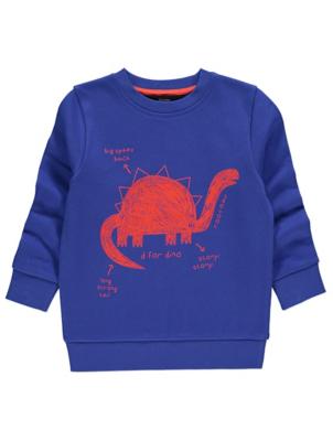 Blue Dinosaur Doodle Graphic Sweatshirt