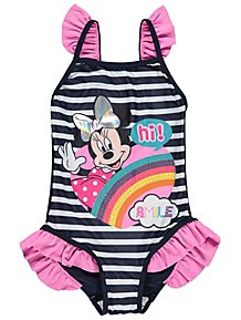 2c688e6b85 Disney Minnie Mouse Stripy Frill Rainbow Swimsuit