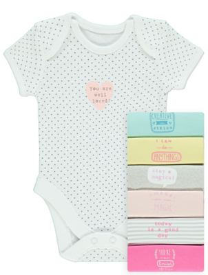 Colourful Slogan Bodysuits 7 Pack