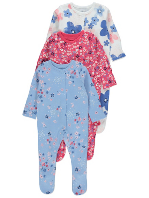 Floral Sleepsuits 3 Pack