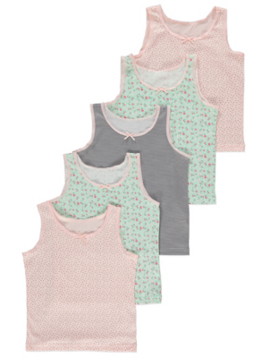 Mint and Pink Floral Vests 5 Pack