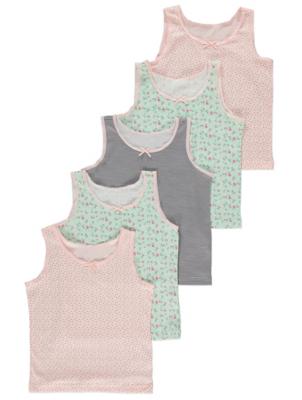 Mint and Pink Floral Vests 5 Pack