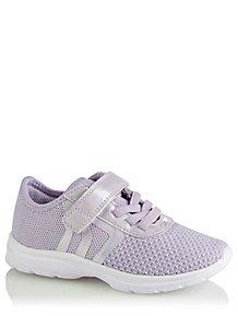 00dd0f8e6e56 Purple Shimmering Mesh Detail 1 Strap Trainers