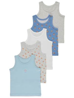 Blue Robot Print Vests 5 Pack