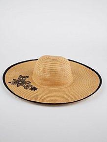 e4039fad228 Floral Woven Floppy Hat
