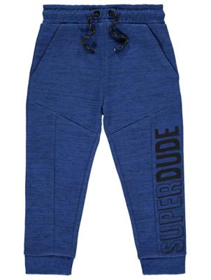 Blue Marl Superdude Slogan Joggers