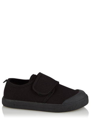 Black Non-Marking Sole Plimsoll School Pumps