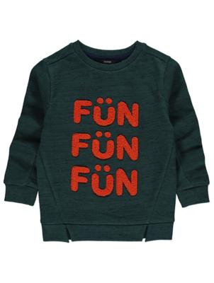 Dark Green Slogan Sweatshirt