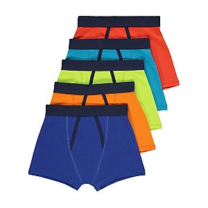 Colourful Contrast Trim Trunks 5 Pack