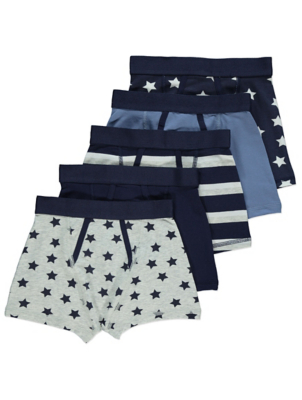 Navy Star Print Trunks 5 Pack