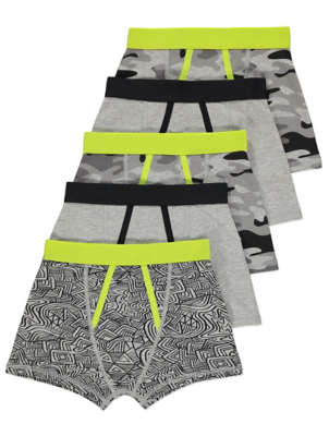 Grey Camo Print Trunks 5 Pack