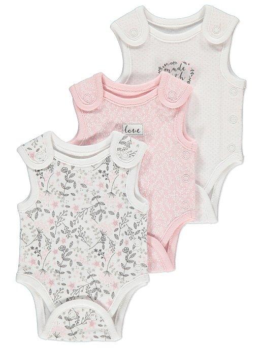 3-Pack Sleeveless Care Baby Girls Bodysuit