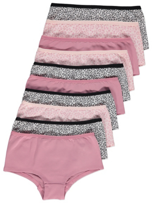 Pink Leopard Print Short Knickers 10 Pack