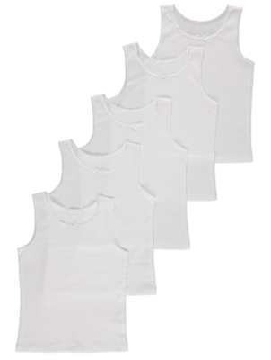 White Bow Trim Vests 5 Pack