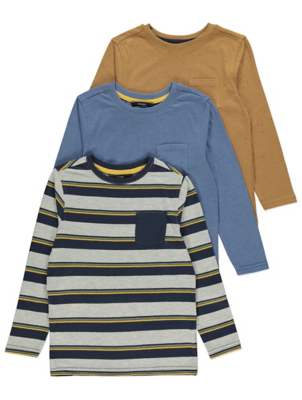 Striped Long Sleeve Jersey Tops 3 Pack