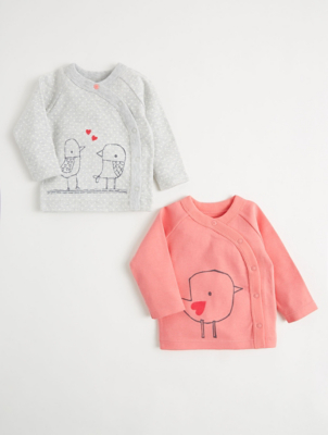 Mac & Moon Pink Bird Long Sleeve Tops