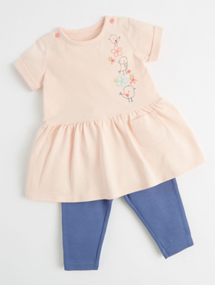 Mac & Moon Pink Bird T-Shirt and Leggings Outfit