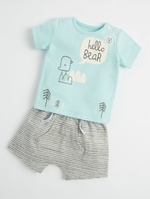 Mac & Moon Blue Bird Top and Shorts Outfit