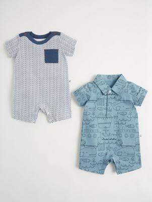 Mac & Moon Nautical Anchor Rompers
