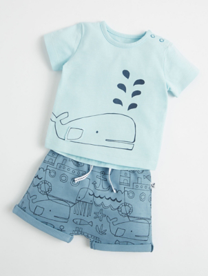 Mac & Moon Blue Nautical Whale T-Shirt and Shorts Outfit