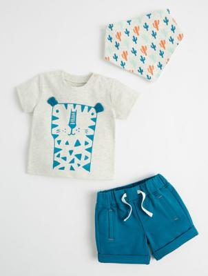 Sunny & Sal Blue Cheetah Top, Shorts and Cactus Bib Outfit