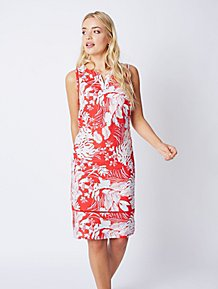 997919f5ccc Red Hibiscus Floral Linen Blend Midi Dress