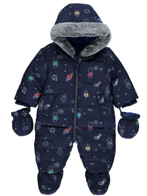 Navy Robot Snowsuit with Mittens