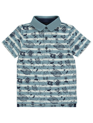 Blue and White Striped Monster Print Polo Shirt
