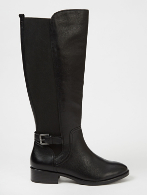 Black Leather Knee High Panelled Boots