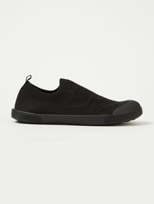 Black Woven Slip On Plimsolls